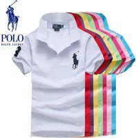 büyük boy giyim toptan satış-Marka Giyim Erkekler Polo Gömlek Erkekler Büyük At Nakış Iş Rahat katı Erkek Polo Gömlek Kısa Kollu Pamuk polo gömlek Artı Boyutu S-5XL