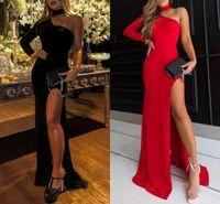 schwarzes rotes langes kleidband großhandel-Sexy Mermaid Prom Dresses High Neck Einzel Lange Ärmel Split Side Satin Bodenlangen Schwarz Rot Abend Party Kleider Zipper Up