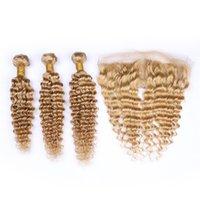 açık kahverengi bakire saç toptan satış-# 27 Bal Sarışın Brezilyalı Derin Dalga Kıvırcık Virgin İnsan Saç Dokuma Açık Kahverengi 13x4 Ile 3 Demetleri Kulağa Tam Dantel Frontal Kapatma