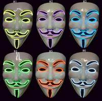traje para el baile hip hop al por mayor-Traje LED enmascarar el alambre de la luz hasta la venganza Fawkes máscara de Navidad Halloween hip hop bailando cosplay máscara MMA2533