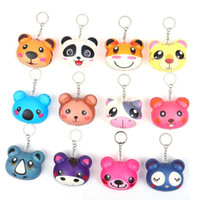 Wholesale animal shaped keychains resale online - Novelty Squishy Toys Keychains Animals Shape Pu Slow Rebound Squishies Toy Keyrings Fit Kids Party Favors Hanging Bag Key Buckle