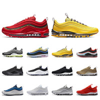 baskets à coussin d'air achat en gros de-2019 nouvelle arrivée 97 chaussures de course OG Cushion Silver Gold Athletic Designers Mens formateurs Sport Sneakers airs SZ5.5-12