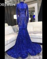 bild spandex kleid großhandel-Blaue Meerjungfrau Prom Kleider 2019 für Afrikanische Schwarze Mädchen Spitze Perlen Echt Bilder High Neck Vestido De Festa Party Kleider