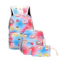 tuval desenli okul sırt çantası toptan satış-3 Adet Sırt Tatlı Baskı Degrade Öğrenci Desen Tuval Okul Sırt Çantaları + Crossbody Çanta + Kalem Çantası