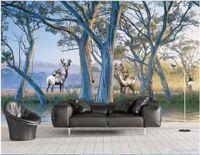 tela para pintar árboles al por mayor-Sala 3D papel tapiz de tela foto personalizada Europeo hermoso bosque árbol grande alce pintura al óleo papel pintado para paredes 3 d revestimiento de la pared