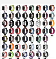 часы пояса нейлон оптовых-53colors 38/40/42 / 44mm Спортивный тканый нейлоновый ремешок с петлёй для яблочного ремешка для часов наручный браслет Ремешок в виде ткани из нейлона для Iwatch серии 1/2/3/4
