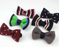 Wholesale knit bowties for sale - Group buy Woolen Yarn Knitted Bow Tie Kids Fashion Baby Performance Knit Bowties For Children Cute Stripes Dots Child Butterfly