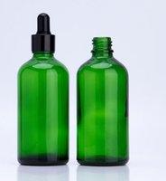 conta gotas de óleo essencial venda por atacado-100 ml frasco conta-gotas de vidro verde com ouro prata preto branco pipeta conta-gotas perfume óleo essencial e ejuice líquido