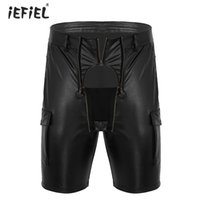 pantalones cortos de carpintero al por mayor-Hombres Wetlook Faux Leather Exotic Short Pantalones de látex Homme Night Party Club Wear Cargo Style Front Zippered Pouch Carpenter Shorts