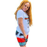 treino de gato venda por atacado-Mulheres de Luxo Two Piece Set Designer Carta Outfit Gato Impresso Camiseta de Manga Curta + Patchwork Shorts Treino Marca Sports Suit S-2XLC6405