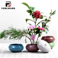vasos japoneses venda por atacado-Criativo Ice Crack GlazeHidropônico Plantador de Flores de Estilo Japonês Pote De Cerâmica Vaso De Flores de Cerâmica Decoração de Mesa Em Casa Vaso