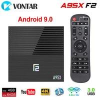 dual core android media caixa venda por atacado-Novo Android 9.0 TV Box A95X F2 Amlogic S905X2 4G32G 2G16G 2.4G / 5G dupla WiFi BT 4K Media Player