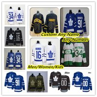 toronto hojas de arce jersey negro al por mayor-Barato 2019 Toronto Maple Leafs hockey jerseys Auston Matthews John Tavares Mitchell Marner William Nylander Andersen Marleau Rielly Negro C