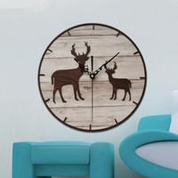ingrosso orologio da parete moderno-Creativo di legno orologio da parete piccola testa di alce decorazione del salone stile nordico Orologio da parete moderni insegnanti di progettazione regali di giorno