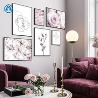 Wholesale art line painting for sale - Group buy Nordic Minimalism Face Line Canvas Art Print Painting Poster Pink Flower Wall Picture For Living Room Home Decoration Wall Decor