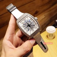 Wholesale fine leather watch straps for sale - Group buy Fine Men s Iced Diamond Watch Silver Diamond Case Watch White Face Wristwatch White Leather Strap Watch Automatic Mechanical Watches
