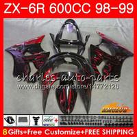 zx6r 1998 99 al por mayor-Cuerpo para KAWASAKI NINJA ZX-6R 6 R ZX-636 ZX600 CC 98-99 Capucha 39HC.241 600CC ZX636 ZX6R 98 99 ZX 636 ZX 6R llamas rojas 1998 1999 Carenado