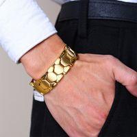pulsera de elemento de hombre al por mayor-4 en 1 magnética de la salud Terapia manera de la joyería de la pulsera de los hombres pulseras de acero inoxidable de 4 elementos negros los brazaletes de 4 colores