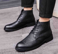 Wholesale office men ankle shoes for sale - Spring Autumn Men Brown Martin Boots Business Leisure Man Black Trending Brogue Shoes High Top Office Career Short