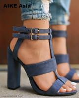 sandales de mariée achat en gros de-Chaussures habillées 2019 Wind Summer Women Pumps Sandals Talon Carré 10cm Marine Femme Talons Hauts Talon Femme Femme