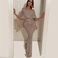 casquillo de la manga vestido de fiesta de plata al por mayor-2019 árabe mangas casquillo lentejuelas plateadas Bling sirena vestidos de baile divididos hasta el suelo vestidos de fiesta formales de noche
