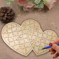 Wholesale book hearts resale online - Puzzle Heart Shape Wedding Guest Book Customs Personalised Wooden Wedding Guestbooks Vintage Sign Books