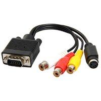 vga cable out achat en gros de-VGA SVGA vers S-VIDEO 3 Câble de convertisseur femelle RCA Sortie VGA vers vidéo TV Adaptateur S-Vidéo AV sans HDMI