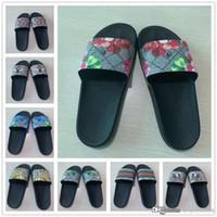 düz sandaletler flip floplar toptan satış-Erkek Kadın Slayt Sandalet Tasarımcı Ayakkabı Lüks Slayt Yaz Moda Kalın Düz GGSlippers Sandalet Terlik Ile Kaygan Boyutu 36-45