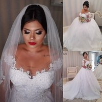 Wholesale african brides dresses for sale - Group buy 2020 African Princess White Lace Appliques Plus size Wedding Dresses Long Sleeves Lace Up Back Wedding Gowns Bride Dresses robe de mariee