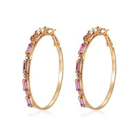 серьги-клипсы из золота оптовых-Vintage Gold Color Big Circle Hoop Earrings For Women Steampunk Ear Clip Party Jewelry Accessories Gift Beauty Rhinestone