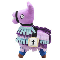 Wholesale game horse resale online - Purple Rainbow horse Plush toys Game peripheral doll information horse Alpaca treasure chest grass mud horse