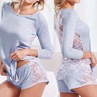 ropa de mujer s al por mayor-Ropa de dormir pijamas para mujer de la ropa de noche atractiva del nuevo hogar sólido traje de encaje de algodón Set Loungewear mujeres conjuntos de ropa casual