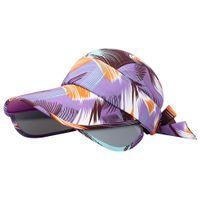 ingrosso visiere anti uv cappello-Estate delle donne Tesa larga stampato indietro piegano Packable Visiera anti-UV protezione della spiaggia del cappello di Sun nuovo