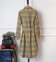 robes longues décorées achat en gros de-Robes mi-longues à mini-boutons à carreaux décorées pour femmes classiques nouvelles en 2019