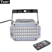 dj lazer aydınlatma efektleri toptan satış-Alüminyum Kabuk 48 LED Parlak DJ Disko Ses Aktif Lazer Projektör Strobe Flaş RGB Sahne Aydınlatma Etkisi Lambası Müzik Işık