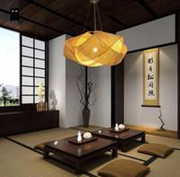 ingrosso disegno di illuminazione di bambù-Bamboo Wicker Rattan Cloud Shade lampada a sospensione giapponese Tatami appeso plafoniera Plafon Lustre Avize Luminaria Design LLFA