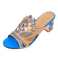 cortar sandálias de praia venda por atacado-Moda Verão Mulheres Big Rhinestone Cut-outs Sandálias de Salto Alto Senhoras Sapatos de Festa Mulher Praia Sandália