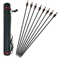 Wholesale hunting arrows for recurve bow resale online - 12 Pack quot Archery Fiberglass Arrows Hunting Practice Shooting Replace Arrowheads for Recurve Bow Longbow Takedown Bow with x Black Quiver