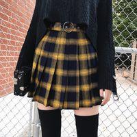 sarı katlı etek toptan satış-Kadın Ekose Kısa Tenis Etek Yüksek Bel Etek Spor Tenis Sarı Siyah Ekose Pileli Punk Kısa