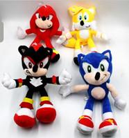 muñecas sonoras juguetes al por mayor-Nueva juguetes de peluche de Sonic Sonic the Hedgehog Los animales de peluche Muñecas Hedgehog Sonic the Echidna Los animales de peluche juguetes de peluche de 25 cm regalo de los cabritos de los nudillos