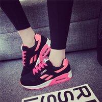 zapatillas deportivas deportivas negras al por mayor-Zapatillas de deporte para mujer Air Cushioning Mesh Patchwork Suede Running Shoes Black Jogging Professional Athletics Ladies Trainers Transpirable