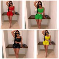 sıcak kadınlar dar kıyafetler toptan satış-Kadın Sling Eşofman PU Tayt Tops Mini Kısa Iki Parçalı Set Spor Seksi Yaz Ev Giysileri Sıcak Satış 40yz E1