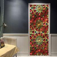 3d schlafzimmer design großhandel-2 Teile / satz Muslim Muster 3D PVC Wandbild Wasserdichte Poster Selbstklebende Schlafzimmer Dekor Mandala Türaufkleber