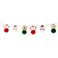 Wholesale flag garland resale online - 1 Set Christmas Diy Paper Made Decorating Hanging Flags Foiled Bunting Flag Garland Small Flower Shaped Small Flower Ball