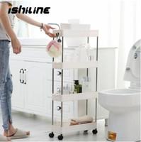 Wholesale slimming stockings resale online - 2 Layer Gap Kitchen Storage Rack Slim Slide Tower Movable Assemble Plastic Bathroom Shelf Wheels Space Saving Organizer