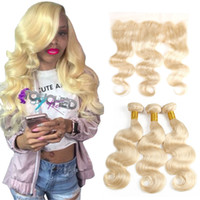vague cheveux india achat en gros de-613 Blonde India Body Wave Bundles de cheveux avec 13x4 dentelle frontale oreille à la fermeture d'oreille en dentelle avec des faisceaux de cheveux brésiliens