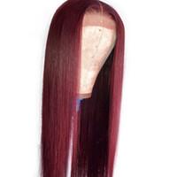 perruque suisse devant de la reine achat en gros de-Perruques de cheveux humains avant de la dentelle 99J pour les femmes noires Bourgogne longue ligne droite droite brésilienne de Remy perruque