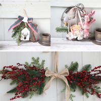 yılbaşı çelenkleri toptan satış-Noel Çelenkler Dekorasyon Ev Için Noel Çelenk Kapı Duvar Süsleme Çelenk Asılı Dekorasyon guirnalda navidad O01