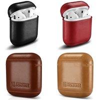 blackberry handy abdeckungen großhandel-Für AirPods Leder Wireless Charging Headset Set Für Apple Handy Stoßfest Fallschutz Bluetooth Headset Cover