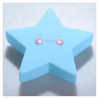 bebekler için gecelik hafif oyuncaklar toptan satış-Yıldız Gülümseme LED Gece Lambası Yumuşak Vinil Oyuncak Bebek Çocuk Yatak Odası Ev Dekorasyon Kreş Lamba için Büyük Hediye